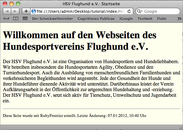 Screenshot 1: HSV Flughund e.V.